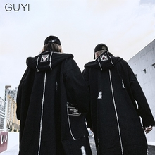 Hip Hop Hole Hooded Long Trench Jackets Coats Men Raw Edge Cloak Male Capes Goth