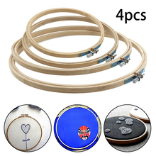 4pcs Cross Stitch Hoop Natural Bamboo Wooden Sewing Embroide