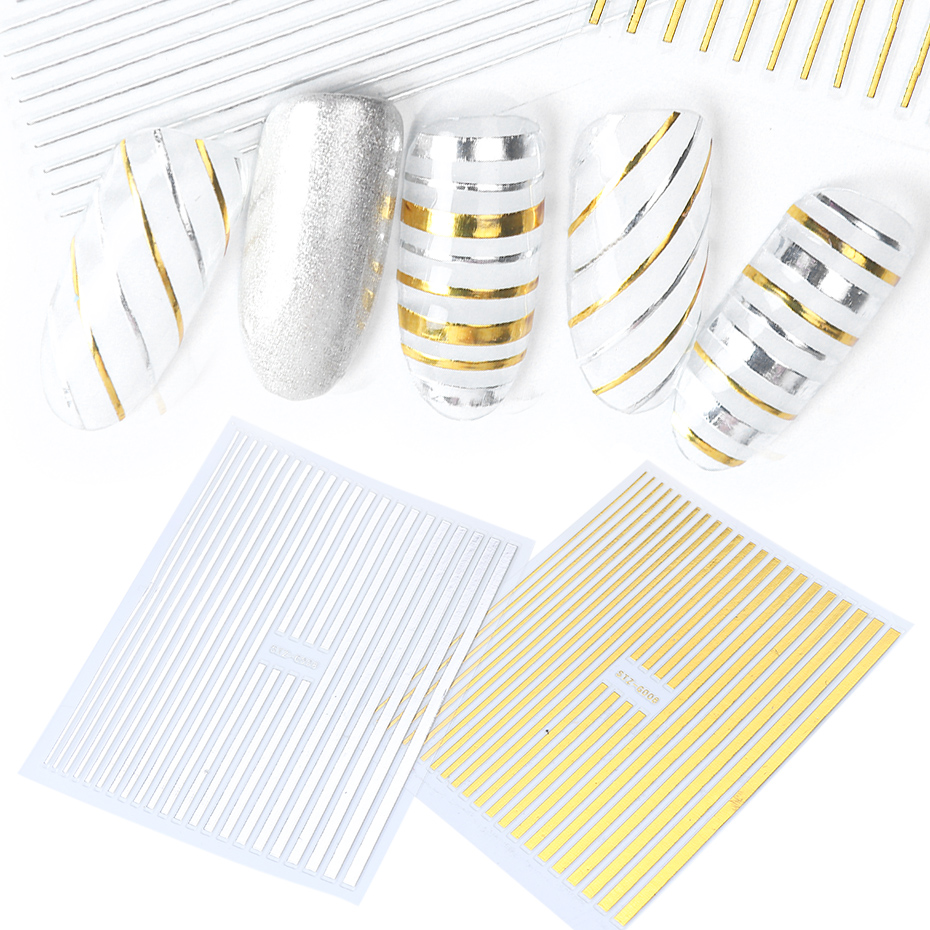 Image 3 - 1pcs Nail Sticker Gold Silver Metal Curve Strip Lines Adhesive Striping Tape Multi size 3D Stickers For Manicure JISTZ G001 013-in Stickers & Decals from Beauty & Health