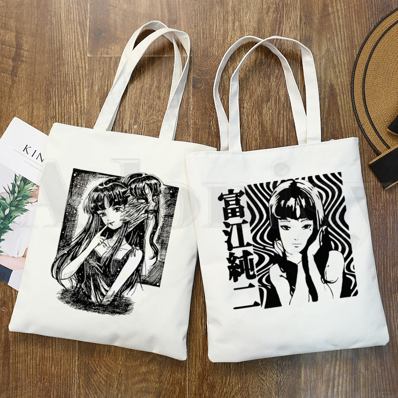 Japan Manga Junji Ito Tomie Shintaro Kago Graphic Hipster Cartoon Print Shopping Bags Girls Fashion Casual Pacakge Hand Bag(China)