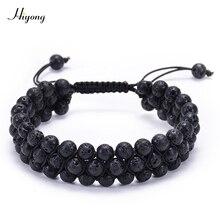 HIYONG Lava Rock Stone Bracelet Aromatherapy Essential Oil Diffuser for Men Adjustable Natural Healing Bracelets