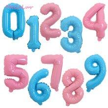 16 pouces Rose Bleu Couleur Bonbon Feuille D'hélium 0-9 Nombre Ballon Bébé Douche Fête D'anniversaire Fournitures De Décoration De Mariage