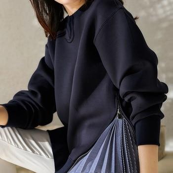 2020 Fall/winter New Ladies Hoodies Fashion Loose Hem Stripe Stitching Zipper Decor Long Sleeve Round Neck Pullover Women