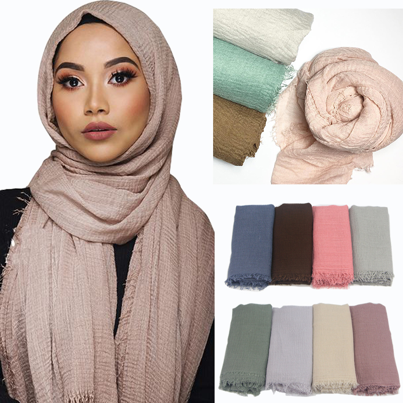 Women Muslim Plain Soft Crinkle Cotton Hijab   Scarf   Long Shawl Islamic   Wrap   Stole Female   Scarves   Fashion Headscarf Hijabs Muffler