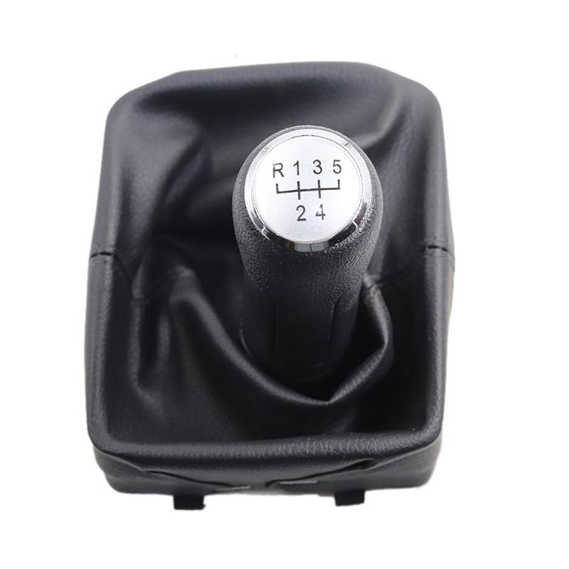 5 скоростей черная кожаная ручка переключения передач С Пылезащитным покрытием ручка переключения скоростей для VW Polo 9N 9N2 2002 2003 2004-2009