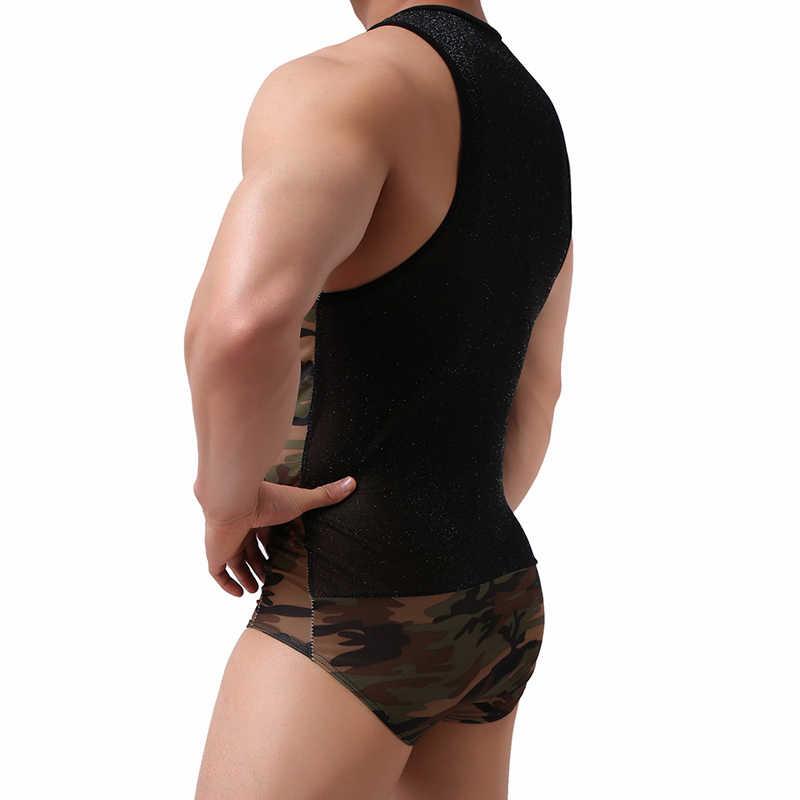 גברים סקסי הסוואה בגד גוף גופיית היאבקות פטיש הומו זכר מהכנסייה תחתונה ארוטי כושר חליפת Wild סרבלי