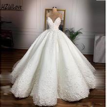 Vintage Wedding Dresses With Spaghetti Straps Lace Appliques  свадебные платья Zipper Back Satin Ball Gown Bridal Dress Cheap