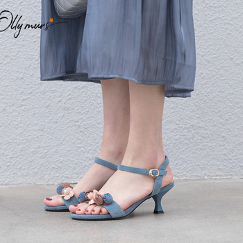 OllyMurs New Fashion Sweet Blue Women Summer Sandals Open Toe Buckle Strap Thin Mid Heel Women Wedding Party Sandals Shoes Woman