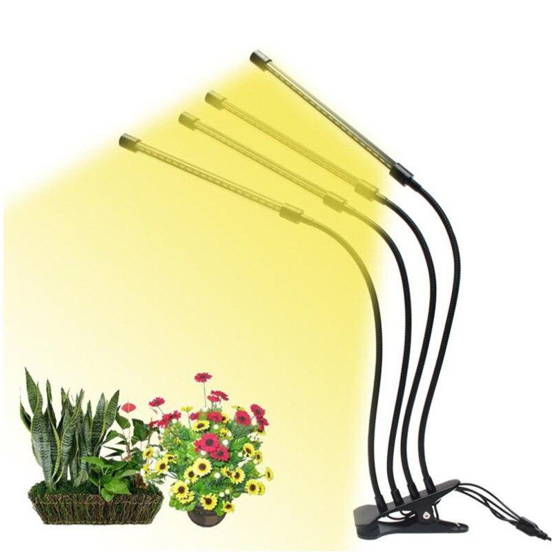 4 Head Yellow USB LED Grow Light Timer Veg Growing Tent Cultivo Full Spectrum Indoor Fitolamp Growbox Plant Sunlight Phyto Lamp