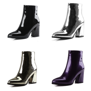 Image 4 - Silver Black Sexy Ankle Boots For Women High Heels Boots Ladies Winter Short Boots Shoes Woman Gold Bottines Pour Les Femmes