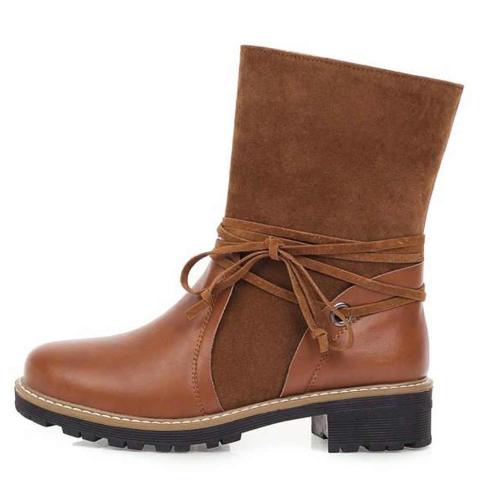 Karinluna yeni en kaliteli büyük boy 43 Patchwork kadın ayakkabı üzerinde kayma çizmeler kadın sonbahar kış orta buzağı çizmeler kadın ayakkabı