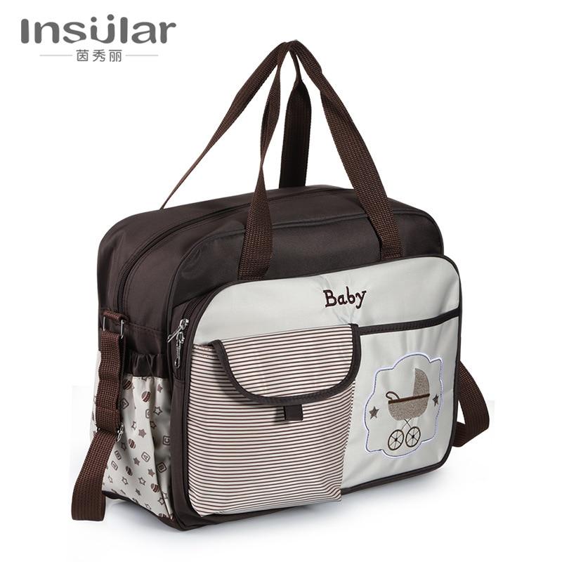 Insular Large-Volume Multi-functional Fashion Shoulder Waterproof Diaper Bag Mom And Baby Diaper Bag Cross Border Mommy Bag