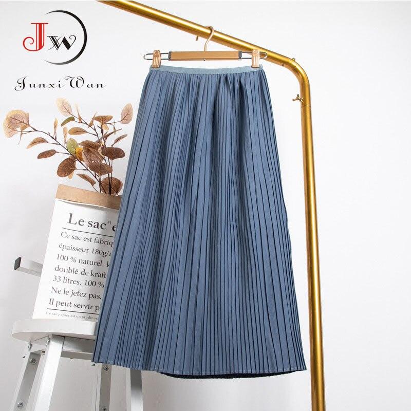 Women Summer Solid Pleated Skirt 2021 High Elastic Waist Elegant Office Ladies Romantic Midi Skirt Female Saia Faldas White 4