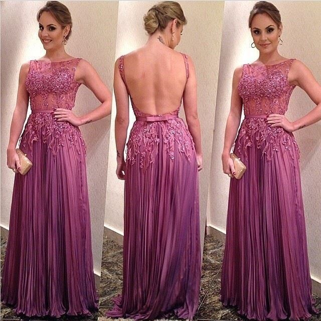 Vestido De Noiva Prom 2018 Sexy Backless Sleeveless Floor Length Applique Formal Evening Party Gown Mother Of The Bride Dresses