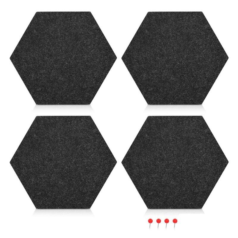 4 Pack Felt Memo Board Decorative Notice Board Hexagon Bulletin Board,Felt Cork Board Tiles,Pin Board Wall Decor For Photos,Memo