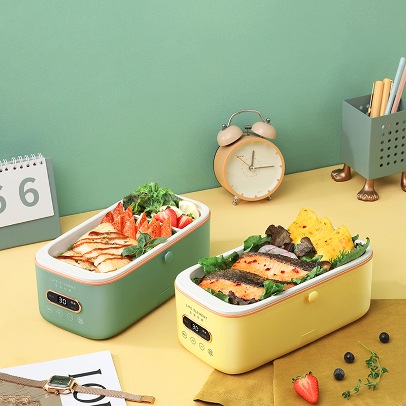 300W Electric Lunch Box Smart Appointment Rice Cooker Pot Mini Multicooker Ceramic Liner Water-free with Digital Display 1L