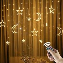 Luzes de natal led string 220v/110v cortina de luz de cores estrela decoração para festa em casa