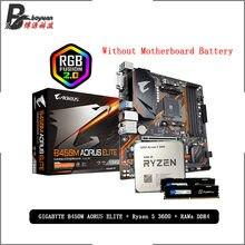AMD Ryzen 5 R5 3600 CPU + GA B450M AORUS ELITE anakart + Pumeitou DDR4 8G 16G 2666MHz RAMs takım soket AM4 olmadan soğutucu