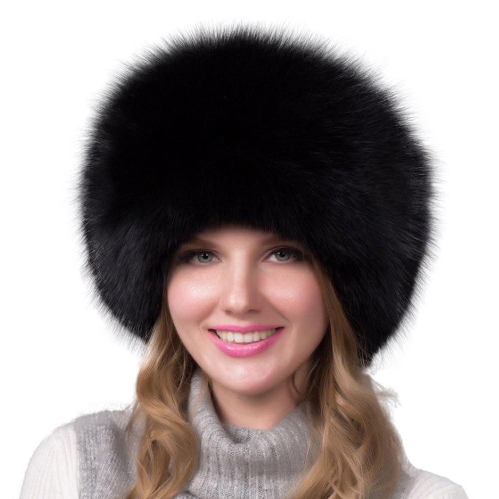Winter Hat Balaclava Women Handmade Knitted Beanies Furry Ladies Warm Snow Hats Furry Luxury Fox Fur Caps gorros de invierno