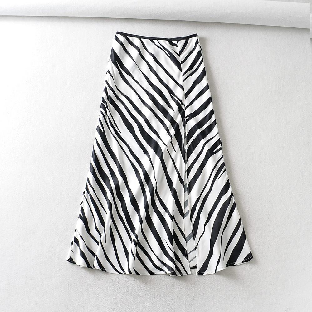 2020 New Women Vintage Striped Print Hem Split Midi Skirt Faldas Mujer Ladies Chic Elastic Waist Satin Mid-calf Skirts QUN598