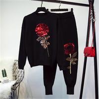 Fashion woolen suit female spring fall New high quality casual loose sequins Rose flower long sleeved sweater + Harem pants Set