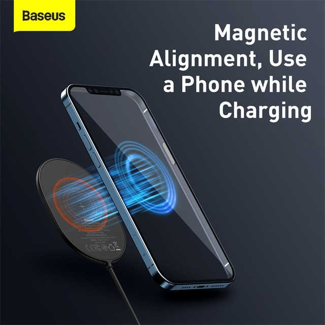 Baseus Light Magnetic Wireless Charger For iPhone 12 12Pro Max Portable Charger For iPhone 12 Mini Charging Fast Charger Pad|Wireless Chargers|   -