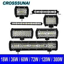 Barra de luces Led para coche foco de luz de trabajo de 18W, 36W, 60W, 72W, 120W, 300W, 12V, 24V, para camión, Tractor, SUV, 4x4, accesorios, 6000K