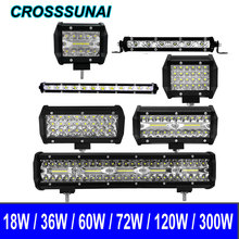 Car Led Light Bar 18W Work light Spotlight 36W 60W 72W 120W 300W 12V 24V For Offroad 4WD Truck Tractor SUV 4x4 Accessories 6000K