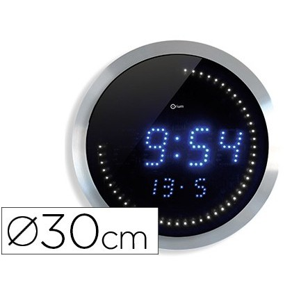 DIGITAL CLOCK CEP WALL OFFICE ROUND DIAMETER 30 CM BLACK COLOR DIAL ALUMINUM DIGITS LED