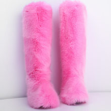 Women Over-the-knee Boots Faux Wool Fur Winter Shoes Warm Round Toe Casual Plus Size Female Snow Boots(China)