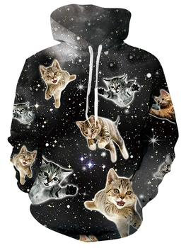Womens Cute Hoodie 3D Print Flying Space Cat Fashion Pullover Hoodies Funny Hooded Sweatshirts with Drawstring Pockets for