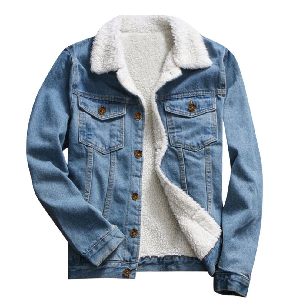 Plus Size Ladies Denim Oversize Jeans Chain Jacket Womens Pocket Coat Winter Warm Parka Classic Jacket Casual Thick Long Sleeve Cardigan Outwear