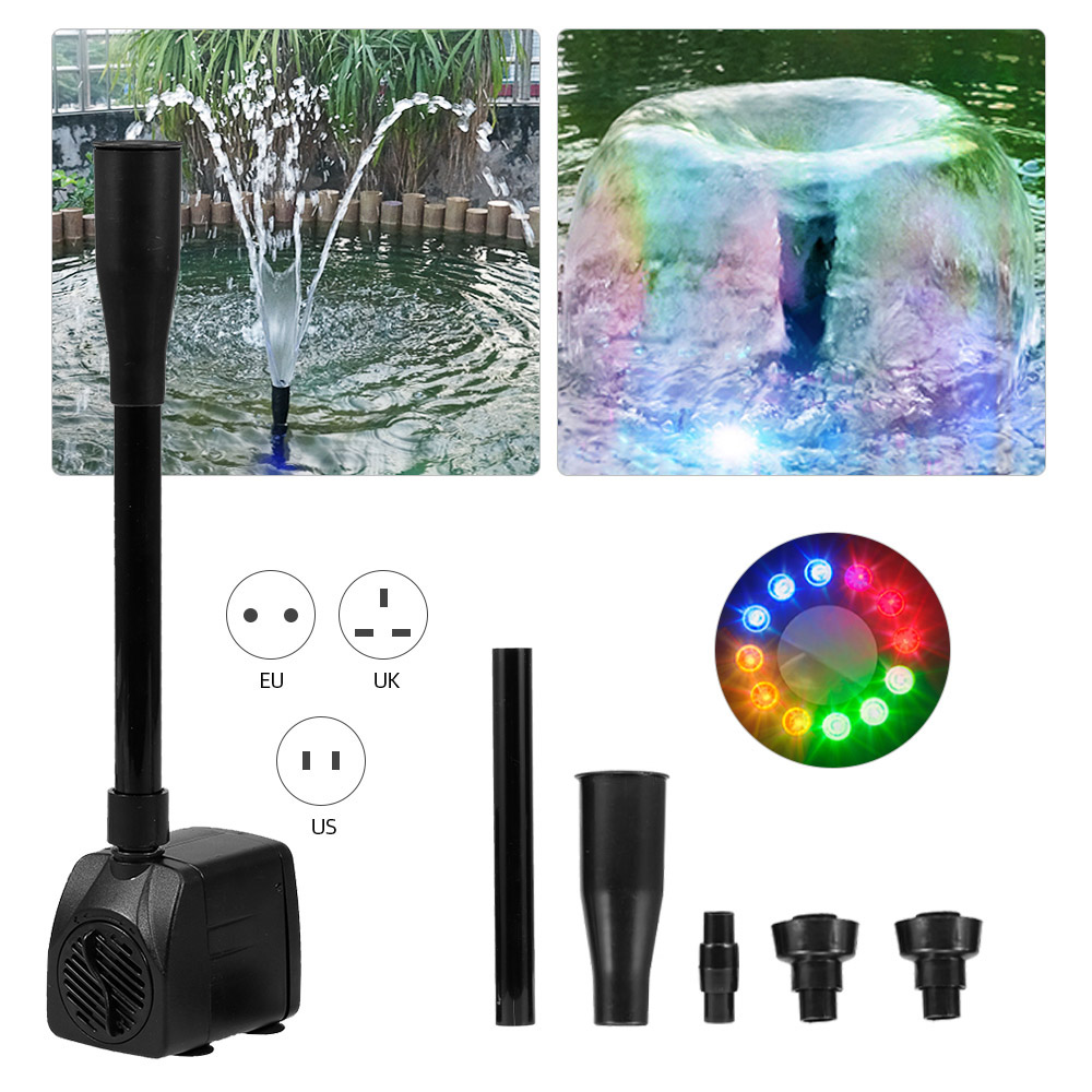 15W Ultra-quiet USB Water Pump with Power Cord Waterproof Fountain with 12 LED Light for Garden Water Pump Aquarium Fountain
