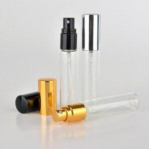Image 2 - 50 قطعة 5 مللي 10 مللي السفر العطور ضئيلة الزجاج زجاجات عطور زجاجة عينة قوارير زجاجية المحمولة زجاجة عطر صغيرة رذاذ غطاء الذهب والفضة