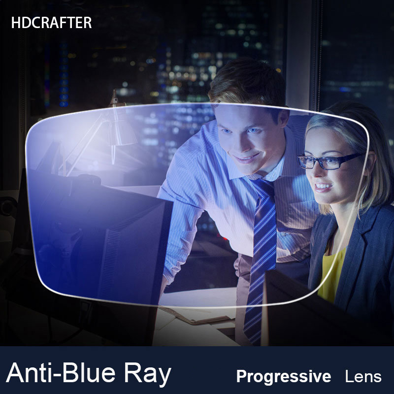 HDCRAFTER 1 paire 1.56 1.61 1.67 Anti-Blue Ray lentille Progressive Prescription optique ordinateur lunettes lentille pour la Protection des yeux
