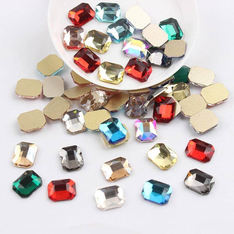 Все смешанные цвета, 30 шт, стразы для дизайна ногтей, сделай сам, без горячей фиксации, стеклянные камни для ногтей, драгоценные камни для 3D украшения для ногтей - Цвет: 8x10mm Re-octagonal