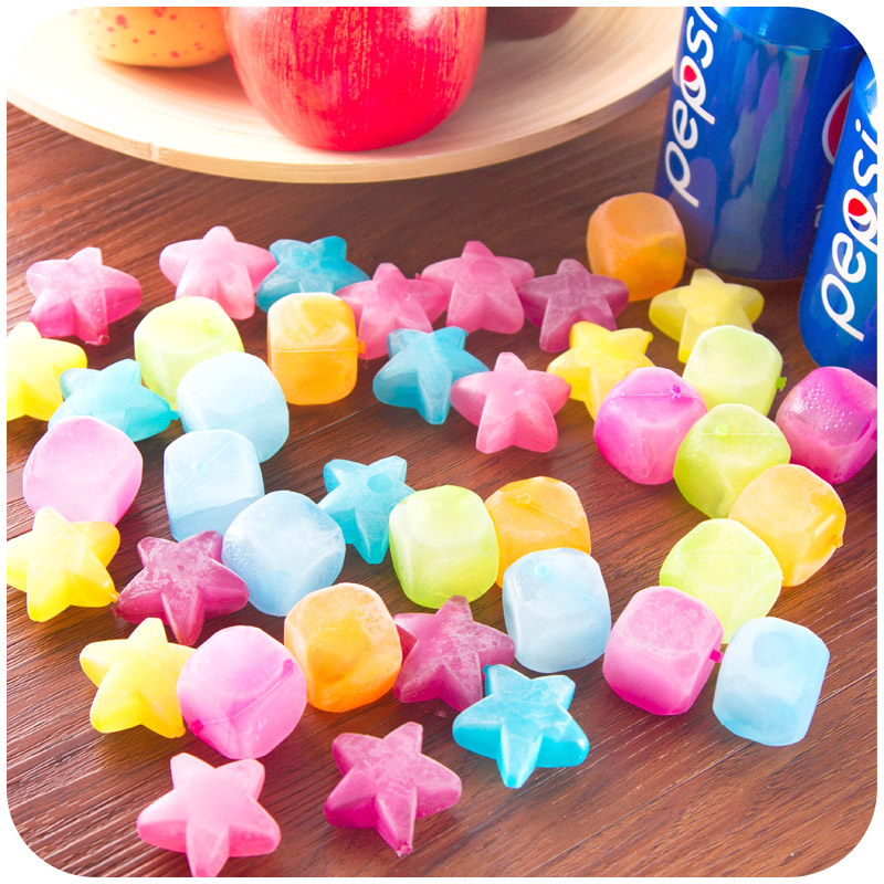 Delidge 20pcs Star Shaped <font><b>Ice</b></font> Cubes Plastic Reusable Multicolour <font><b>Ice</b></font> Cube Picnic Keep Drink Cool Physical Cooling Bar Tool image