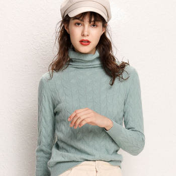 цена на 2019 New Cashmere Wool Women Sweater and Pullovers Women Fashion Turtleneck Solid Color Long Sleeve Knitted Hemp Flowers Sweater