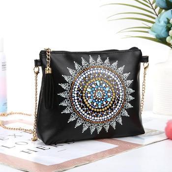 ¡Novedad! Bolso bandolera de piel con pintura de diamantes 5D DIY, bolso con cadena, bolso con bordado de diamantes DIY, cartera para maquillaje de mujer