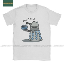 Educate Doctor Who T Shirt for Men Cotton T-Shirts Tardis Bad Wolf Whovian Gallifrey Timelord Blue Box Tee Shirt Short Sleeve