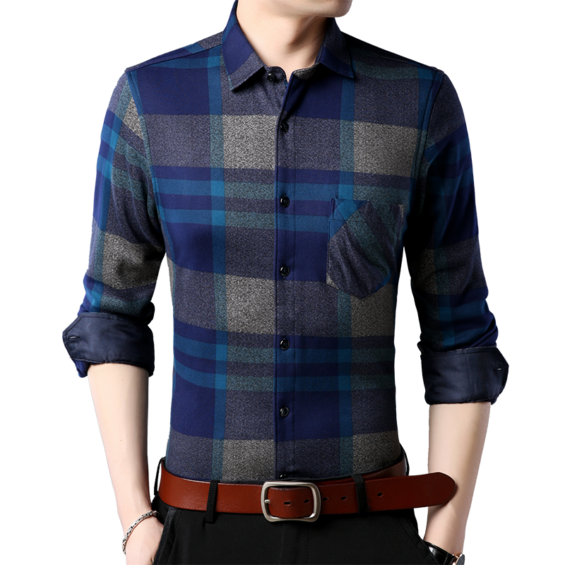 Loldeal Flannel Shirt Men's Winter Christmas Plaid Warm Camisas Long Sleeve Slim