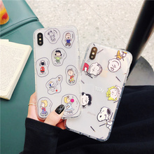 Charlie Brown family cute silicone soft phone cases for iphone xr x xs max transparent air cushion cover 6 s 8 7 PLUS