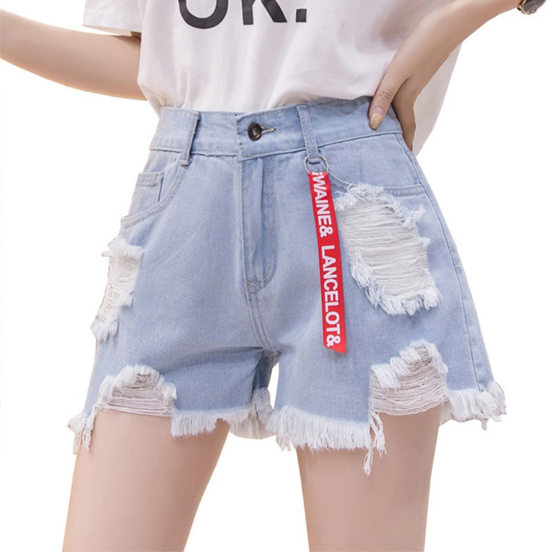 Women Solid Color High Waist Jeans Shorts Slim Casual Slim Waist Summer Loose Hole Denim Shorts T