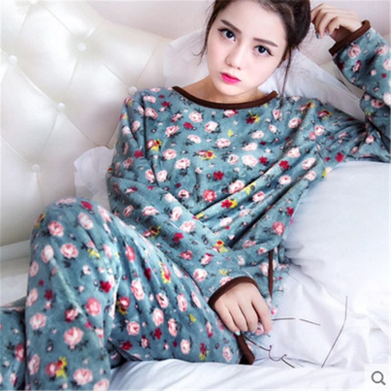 Coral Fleece Pyjamas Women Winter Flannel Women Pajamas Set 2019 Warm Pyjama Female Winter Thick Pijamas Women Big Size