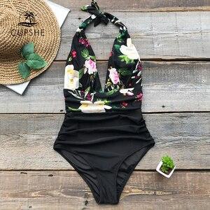 Image 5 - CUPSHE donanma çiçek derin v yaka Halter tek parça mayo seksi Backless dantel Up kadınlar Monokini 2020 plaj mayo mayo