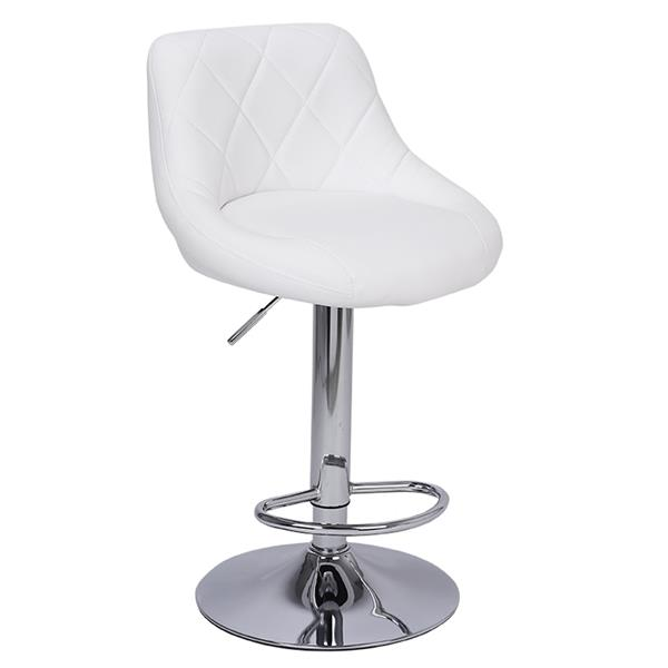 2pcs Adjustable High Type With Disk No Armrest , Rhombus Backrest Design Bar Stools White  PU Leather Surface, Bar Chair.