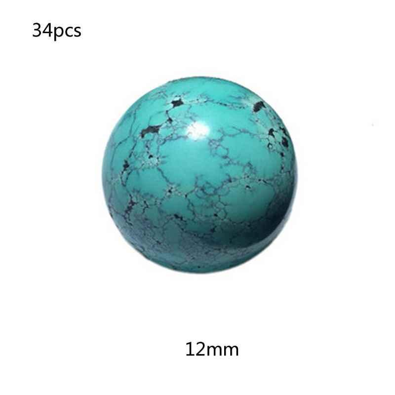 חלק טבעי אבן כחול ירוק טורקיז עגול Loose חרוזים להכנת תכשיטים