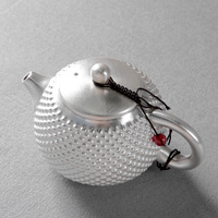 999 sterling silver Kung Fu tea set, one pot, two cups, hammered tea cup, teapot, silver ceramic tea set, high end gift set