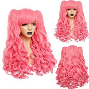 Image 4 - Аногол Синий Розовый Термостойкое волокно длинные волнистые Лолита фиолетовый парик для косплея многоцветная боковая бахрома синтетический парик 2 хвостика