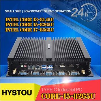 2020 newest HYSTOU type-c industrial Mini Pc i7 8565U i5 8265U i3 8145U dual DDR4 HD EDP @60HZ support 3 display SIM Port pc